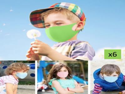 (Pack x6 Uds.) Mascarillas Reutilizables Solidarias de Gomaespuma Económicas para niños
