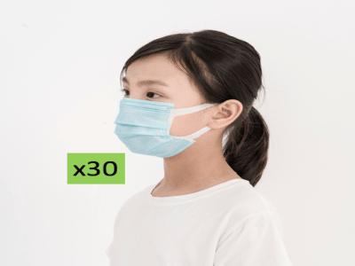 (Pack x30 Uds.) Mascarillas Solidarias 3-PLY para Niños, Contra el Covid19, No Irritante ni Alérgica