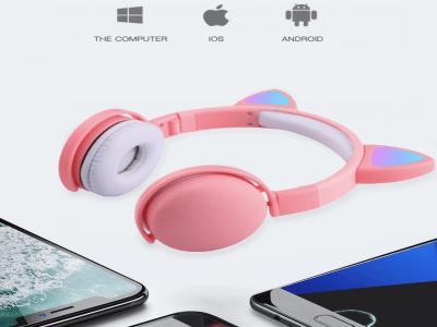 Auriculares Bluetooth 5.0 con orejas de gato, luz LED, inalámbricos, micrófono y control de volumen