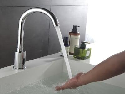 Grifo Automático Sensor Infrarrojo, Aleación Zinc. Grifo Inteligente Cocina, agua caliente y fría