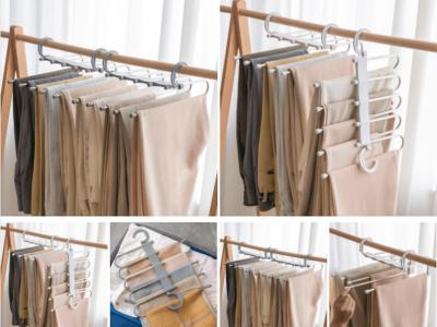 Organizadores Acero Inoxidable 5 capas, Ahorre Espacio, para Pantalones Vaqueros, Bufandas, etc…