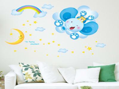 Luna y Arcoiris Adhesivo, Tamaño grande, Desmontable, para niños, guardería, sala de juegos
