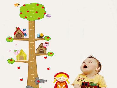 Animales Gráfico de crecimiento Adhesivo, Tamaño grande, Desmontable, para niños, guardería, sala de