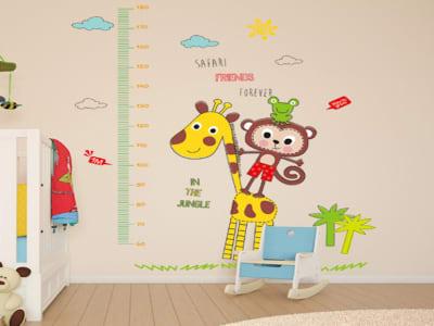 Jirafa y Mono Adhesivo, Tamaño grande, Desmontable, para niños, guardería, sala de juegos