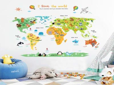 Mapa del mundo Animales Adhesivo, Tamaño grande, Desmontable, para niños, guardería, sala de juegos