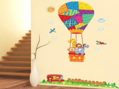 Globo Aerostático con Animales Adhesivo, Tamaño grande, Desmontable, para niños, guardería, sala de