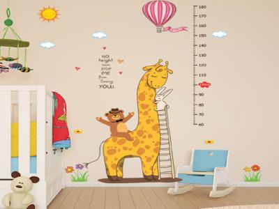 Jirafa, Grafico de crecimiento Adhesivo, Tamaño grande, Desmontable, para niños, guardería, sala de