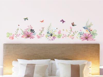 Flores y Mariposas Adhesivas, Tamaño Grande, Desmontable, Decoración de Habitación Hogar