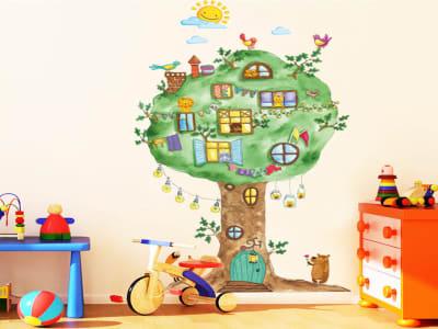 Casa en el Arbol Adhesivo, Tamaño grande, Desmontable, para niños, guardería, sala de juegos