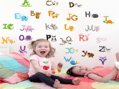 ABC Adhesivo, Tamaño grande, Desmontable, para niños, guardería, sala de juegos