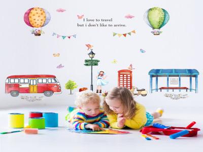 Estación Bus Adhesivo, Tamaño grande, Desmontable, para niños, guardería, sala de juegos