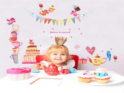 Fiesta Adhesivo, Tamaño grande, Desmontable, para niños, guardería, sala de juegos