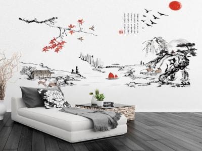 Decoración Tradicional China Adhesivo, Tamaño grande, Desmontable, para niños, guardería, sala de juegos