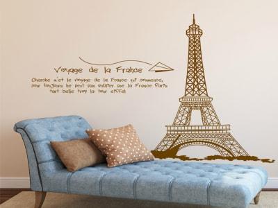 Viaje a Paris Adhesivo, Tamaño Grande, Desmontable, Decoración de Habitación Hogar