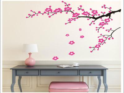 Flores Rosas Adhesivo, Tamaño Grande, Desmontable, Decoración de Habitación Hogar