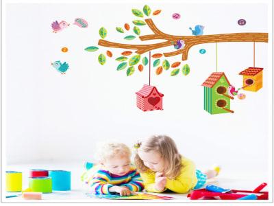Casa de Pajaros en el Árbol Adhesivo, Tamaño grande, Desmontable, para niños, guardería, sala de jue