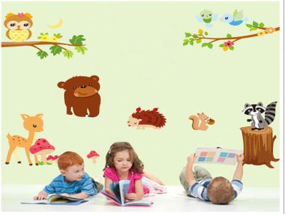 Diversos Animales en el Bosque Adhesivo, Tamaño grande, Desmontable, para niños, guardería, sala de