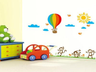 Monos Felices con Globos Adhesivo, Tamaño grande, Desmontable, para niños, guardería, sala de juegos