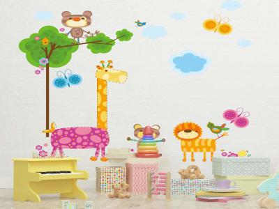 Animales Divertios para Niños Adhesivo, Tamaño grande, Desmontable, para niños, guardería, sala de j