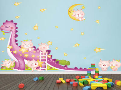 Dinosaurio Feliz Adhesivo, Tamaño grande, Desmontable, para niños, guardería, sala de juegos