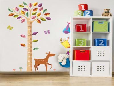 Árbol y Ciervo Adhesivo, Tamaño grande, Desmontable, para niños, guardería, sala de juegos