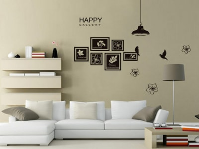 Galería Feliz Adhesivo, Tamaño Grande, Desmontable, Decoración de Habitación Hogar
