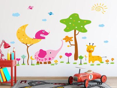 Animales Coloridos Divertidos Adhesivo, Tamaño grande, Desmontable, para niños, guardería, sala de j