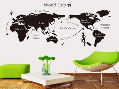 Mapa de Viaje Mundial Adhesivo, Tamaño Grande, Desmontable, Decoración de Habitación Hogar