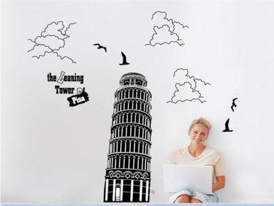 Torre de Pisa Adhesivo, Tamaño Grande, Desmontable, Decoración de Habitación Hogar