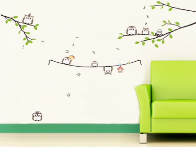 Familia de Búhos divertidos Adhesivo, Tamaño Grande, Desmontable, Decoración de Habitación Hogar