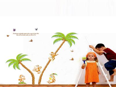 Monos Divirtiéndose en un Árbol Adhesivo, Tamaño grande, Desmontable, para niños, guardería, sala de