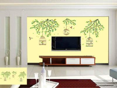 Jaulas de Pájaros Románticas Adhesivo, Tamaño Grande, Desmontable, Decoración de Habitación Hogar