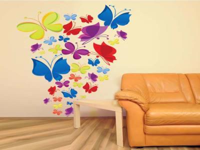 Mariposas Multicolor Adhesivo, Tamaño Grande, Desmontable, Decoración de Habitación Hogar
