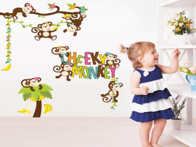 Mono Descarado colorido Adhesivo, Tamaño grande, Desmontable, para niños, guardería, sala de juegos