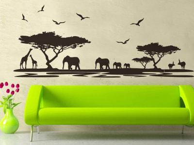 Jungla Africana Adhesivo, Tamaño Grande, Desmontable, Decoración de Habitación Hogar