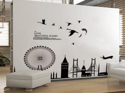Diseño Moderno Londres  Adhesivo, Tamaño Grande, Desmontable, Decoración de Habitación Hogar