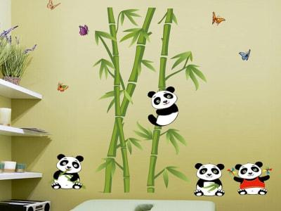 Osos Panda Felices Adhesivo, Tamaño Grande, Desmontable, Decoración de Habitación Hogar