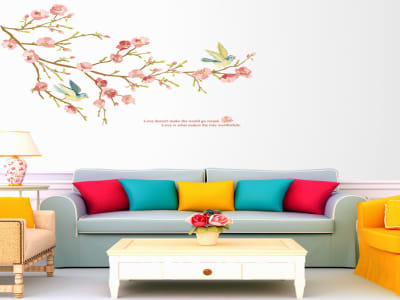Rama de Árbol Romática Adhesivo, Tamaño Grande, Desmontable, Decoración de Habitación Hogar