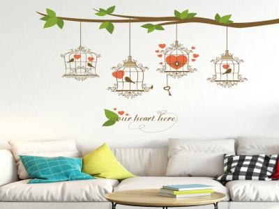 jaula de Pájaros Moderna y Romántica Adhesivo, Tamaño Grande, Desmontable, Decoración de Habitación Hogar