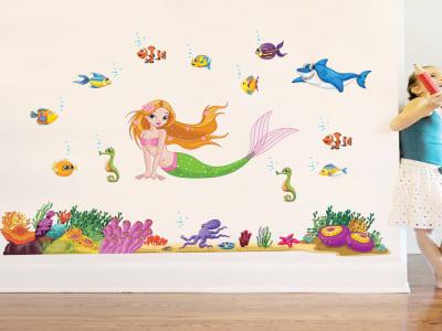 Sirena Adhesivo, Tamaño grande, Desmontable, para niños, guardería, sala de juegos