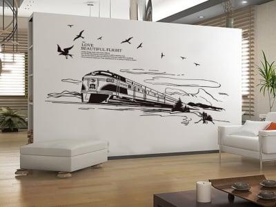 Tren Adhesivo, Tamaño Grande, Desmontable, Decoración de Habitación Hogar