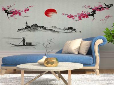 Estilo Asiático Adhesivo, Tamaño Grande, Desmontable, Decoración de Habitación Hogar