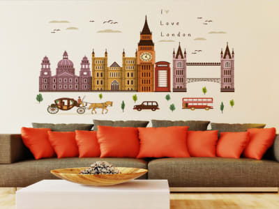 Ciudad Europa Antigua Adhesivo, Tamaño Grande, Desmontable, Decoración de Habitación Hogar