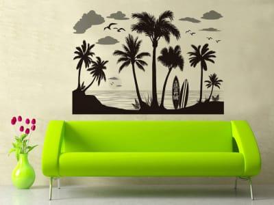 Palmeras en la Playa Adhesivo, Tamaño Grande, Desmontable, Decoración de Habitación Hogar