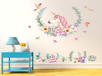 Maravilloso Unicornio Adhesivo, Tamaño Grande, Desmontable, Decoración de Habitación Hogar