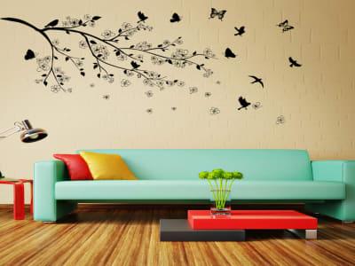 Árbol con Pájaros Adhesivo, Tamaño Grande, Desmontable, Decoración de Habitación Hogar