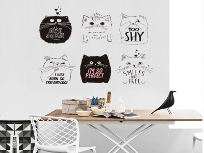 Gatos Divertidos Adhesivo, Tamaño Grande, Desmontable, Decoración de Habitación Hogar