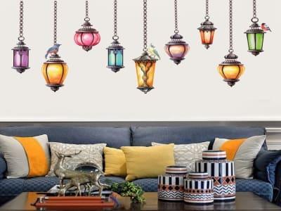 Lámparas Coloridas Adhesivo, Tamaño Grande, Desmontable, Decoración de Habitación Hogar