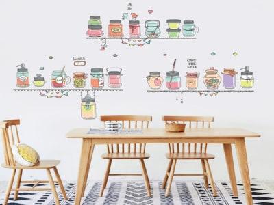 Cocina Colorida Adhesivo, Tamaño Grande, Desmontable, Decoración de Habitación Hogar
