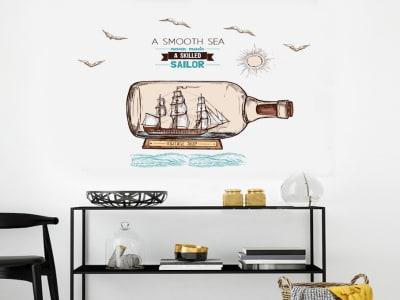Barco en la Botella Adhesivo, Tamaño Grande, Desmontable, Decoración de Habitación Hogar